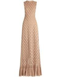 Ryan Roche - Ruffled-hem Cashmere Crochet-knit Maxi Dress - Lyst