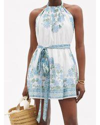 Juliet Dunn Rose-print Belted Halterneck Cotton Dress - Blue