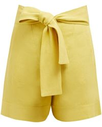 Zeus+Dione Minos High Rise Linen Shorts - Yellow