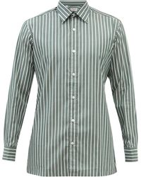 Charvet Striped Cotton-poplin Shirt - Green