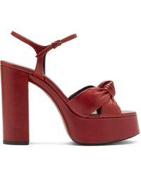 Saint Laurent - Bianca Knotted Leather Platform Sandals - Lyst