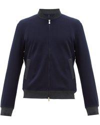 Brunello Cucinelli Men's Zip-front Knit Bomber Jacket - Blue