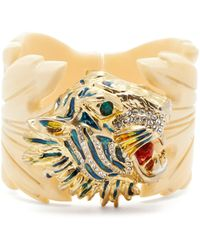 Gucci - Crystal Embellished Tiger Head And Leaf Cuff - Lyst