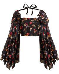 Rodarte Square Neck Floral Print Silk Blend Blouse - Black
