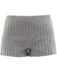 Erdem Kinsley Ribbed-knit Wool-blend Shorts - Grey