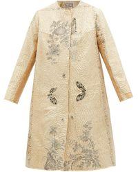 By Walid Tanita Floral-embroidered Vintage Silk Coat - Natural