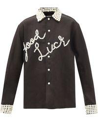 Bode Good Luck Button-embellished Linen Shirt - Black