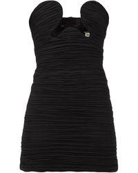 Saint Laurent ギャザージョーゼットミニドレス - ブラック