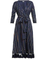 RHODE Lena Heart-jacquard Cotton-blend Wrap Dress - Blue
