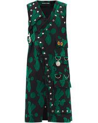 Chopova Lowena Ping Flocked And Cotton Wrap Dress - Green