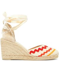 Castaner Craby 80 Striped Canvas And Jute Platform Wedges - White