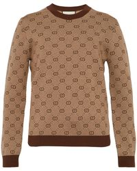 Gucci Gg Jacquard Cropped Wool Blend Sweater - Brown