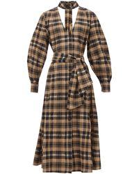 Ganni Checked Cotton-seersucker Midi Dress - Natural