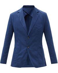 Frescobol Carioca Patch-pocket Cotton-blend Poplin Suit Jacket - Blue