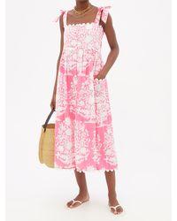Juliet Dunn Floral-print Cotton-voile Midi Dress - Pink