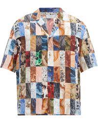 Deveaux Chemise col cubain en soie à patchwork marbré - Bleu
