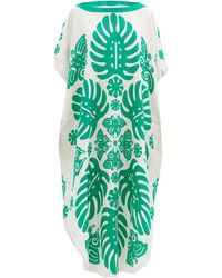 Hester Bly Taimani Silk-crepe Kaftan - Green