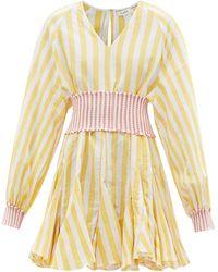RHODE Olivia Belted V-neck Cotton-blend Mini Dress - Yellow