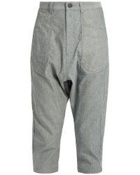 Yohji Yamamoto Regulation - Dropped-crotch Cropped Oxford-cotton Pants - Lyst