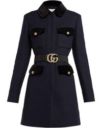 Gucci Velvet-trimmed Single-breasted Wool Coat - Blue