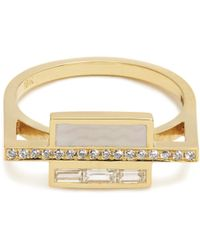 Azlee   White Light Diamond, Enamel & Yellow-gold Ring   Lyst