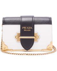 Prada Cahier Leather Cross Body Bag - Multicolour