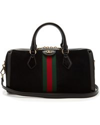 7f56e1f7b17d Saint Laurent Duffle 6 Leather and Suede Bowling Bag in Red - Lyst