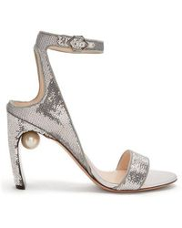 Nicholas Kirkwood - Lola Faux-pearl Sequin-embellished Sandals - Lyst