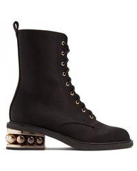 Nicholas Kirkwood - Casati Pearl-heeled Satin-drill Ankle Boots - Lyst