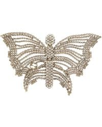 Gucci Butterfly Crystal-embellished Brooch - Metallic