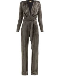 dccf9a72359 Melissa Odabash - Look 4 Metallic Stripe Belted Jumpsuit - Lyst