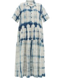 STORY mfg. Robe-chemise en coton biologique shibori Eden - Bleu