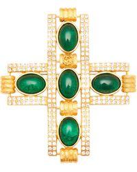 Gucci Broche croix à cristaux - Vert