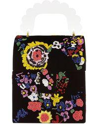 Shrimps Bingley Floral-beaded Velvet Box Bag - Black