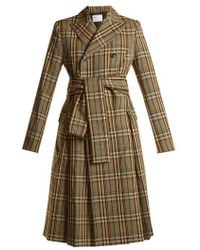 Toga - Peak-lapel Double-breasted Checked Trench Coat - Lyst