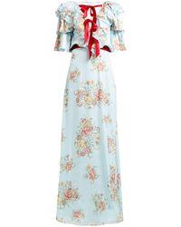 Rodarte Ruffled Floral-print Silk-satin Gown - Blue