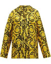 Versace バロック シルクツイル パジャマシャツ - ブラック