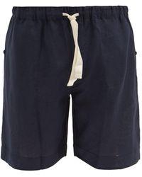 Desmond & Dempsey Drawstring Linen Pyjama Shorts - Blue