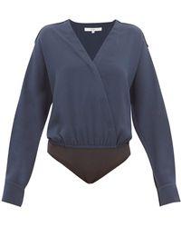 Tibi Savannah Wrap Crepe Bodysuit - Blue