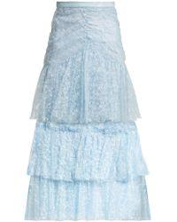 Rodarte - Tiered Ruffled Lace Midi Skirt - Lyst