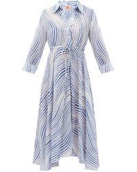 Le Sirenuse ルーシー ウィンドプリント コットンシャツドレス - ブルー
