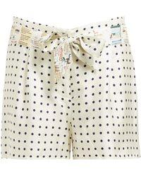 La Prestic Ouiston Mumbai Polka Dot Print Silk Twill Shorts - White
