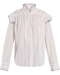 Bliss and Mischief Blanket Stitch Striped Cotton Shirt - White