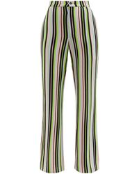 Kenneth Ize Pantalon en soie mélangée à rayures - Multicolore