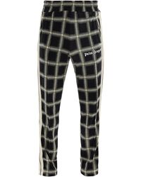 Palm Angels Logo-print Checked-velour Track Trousers - Black
