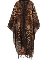 Saint Laurent Poncho en laine à imprimé léopard - Multicolore