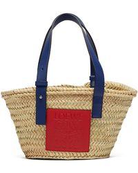 Loewe Small Logo-debossed Raffia Basket Bag - Multicolour