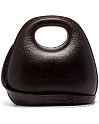 Lemaire Egg Crocodile-effect Leather Bag - Brown