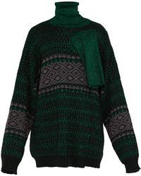 Raf Simons Triple-neck Oversized Jacquard Sweater - Green