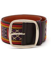 Etro Wide Embroidered Belt - Blue